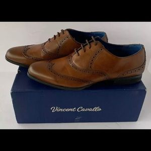 Vinncent Cavallo Wing Tip Shoes Cognac Size 11